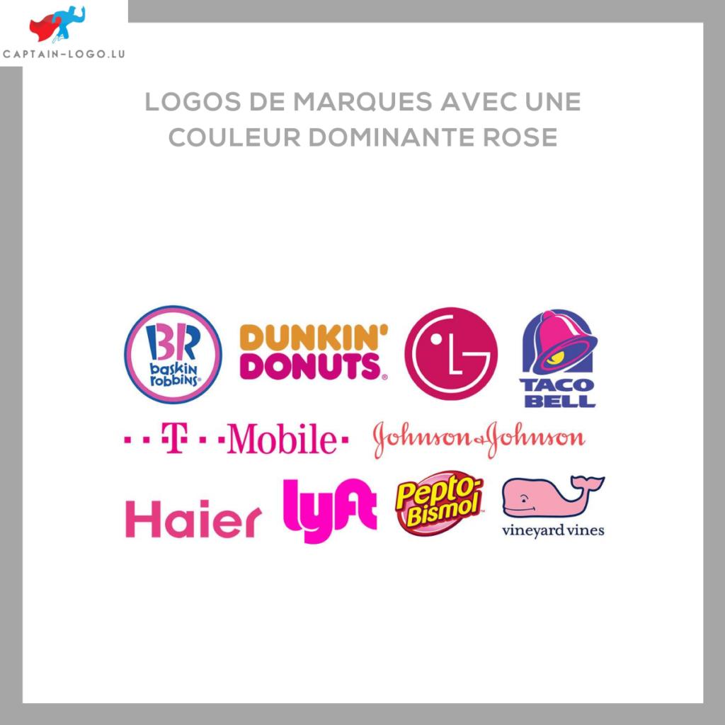 Illustration présentant les logo de marques avec une couleur dominante rose