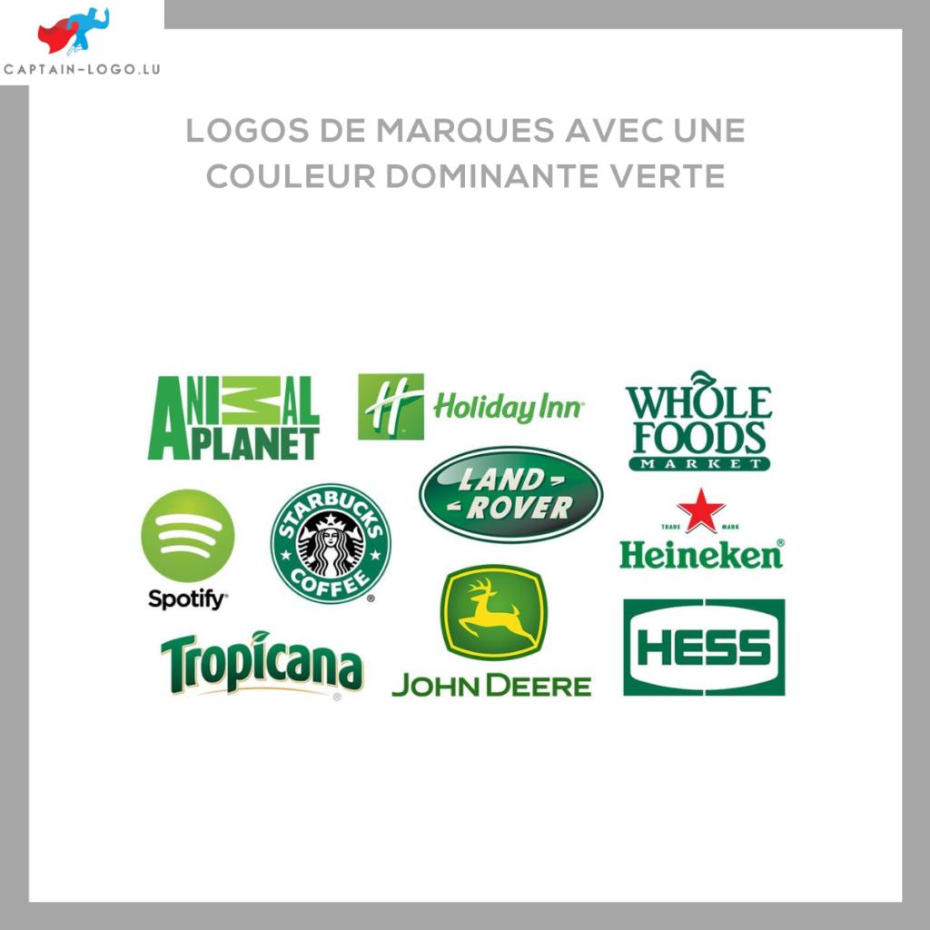 Illustration présentant les logo de marques avec une couleur dominante verte