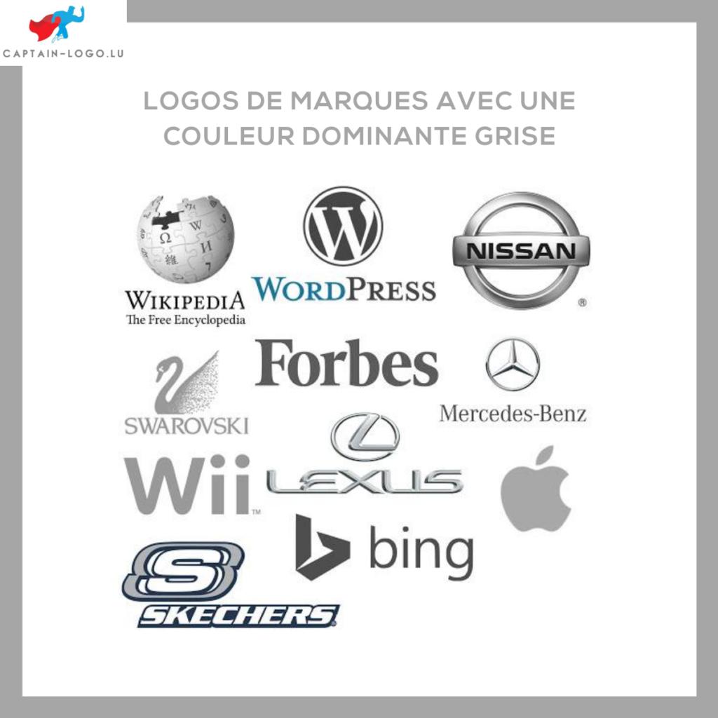 Illustration présentant les logo de marques avec une couleur dominante grise