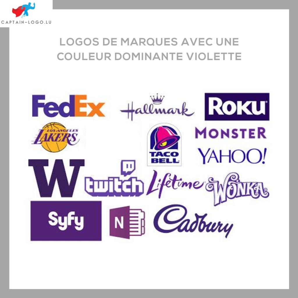 Illustration présentant les logo de marques avec une couleur dominante violette