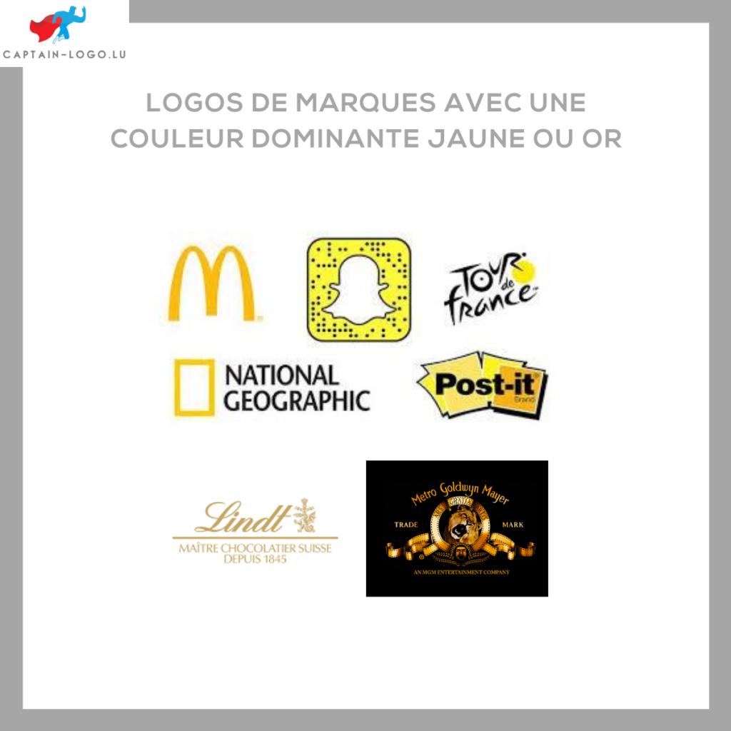 Illustration présentant les logo de marques avec une couleur dominante jaune ou or