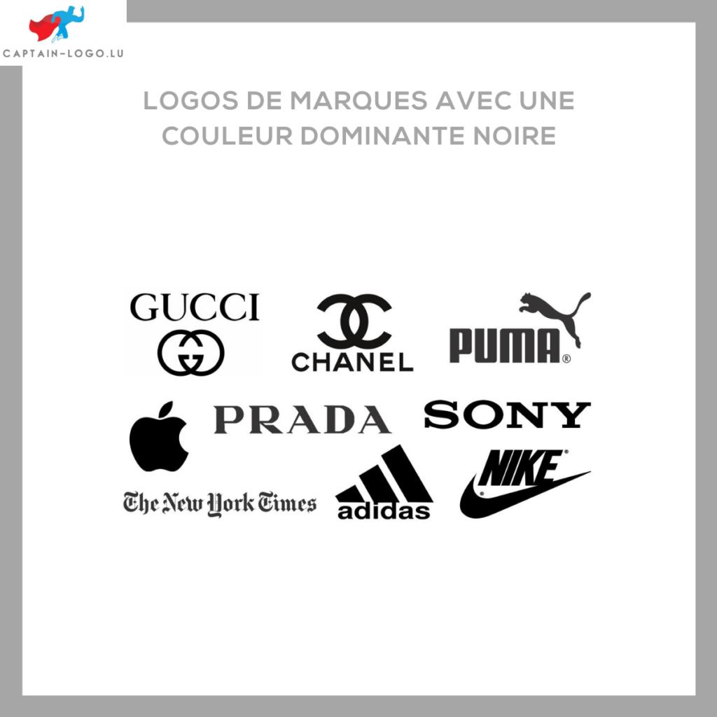 Illustration présentant les logo de marques avec une couleur dominante noire