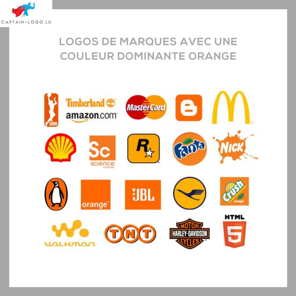 Illustration présentant les logo de marques avec une couleur dominante orange