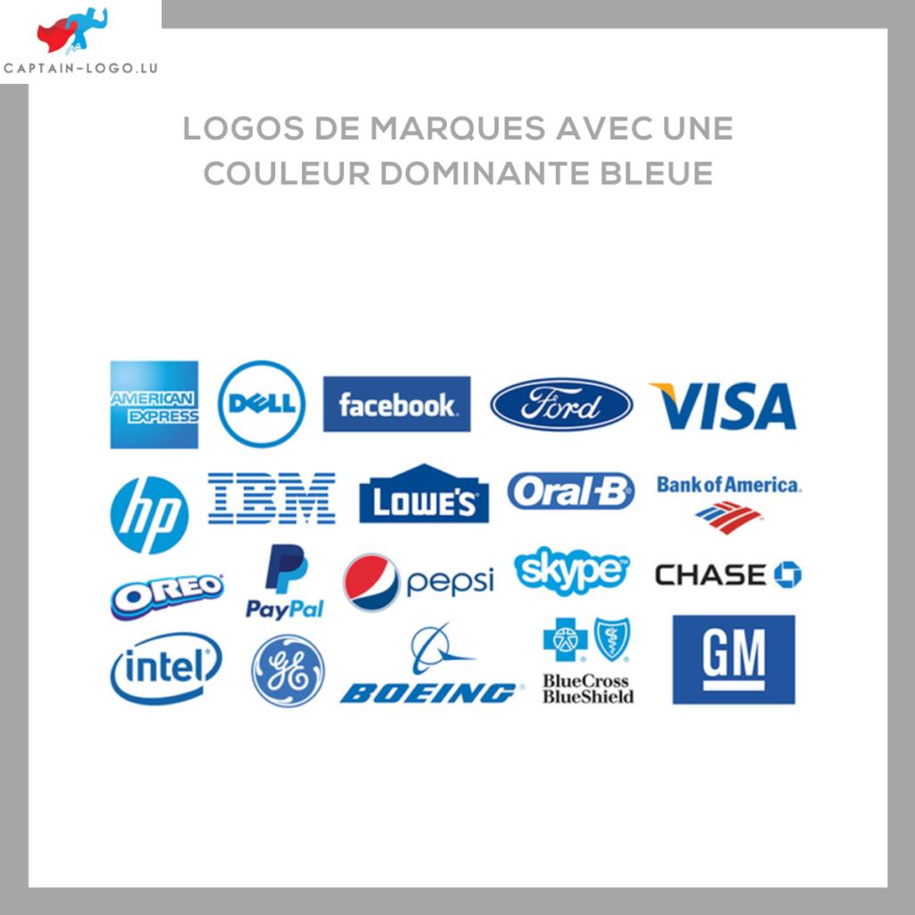 Illustration présentant les logo de marques avec une couleur dominante bleue