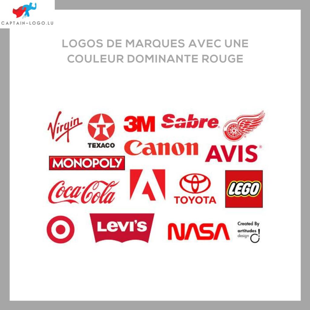 Illustration présentant les logo de marques avec une couleur dominante rouge